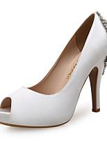 cheap -Women's Heels / Wedding Shoes Spring / Fall Stiletto Heel Peep Toe Sweet Minimalism Wedding Party & Evening Rhinestone Solid Colored Satin Almond / White / Royal Blue