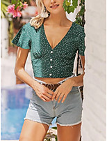 cheap -Women's Blouse Floral Tops - Print V Neck Daily Summer Green S M L XL