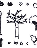 cheap -14pcs Fondant Biscuit Printing Die Trees Black Silhouette Series Surrounding Cloud Embossing Die