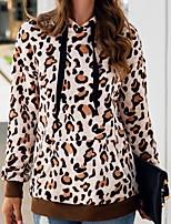 cheap -Women's Hoodie Leopard Basic Khaki Brown Gray S M L XL