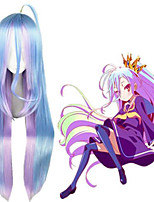 cheap -Cosplay Wig Shiro No Game No Life kinky Straight Cosplay Asymmetrical Wig Very Long Purple / Blue Synthetic Hair 40 inch Women's Anime Cosplay Highlighted / Balayage Hair Blue
