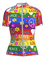 cheap -21Grams Women's Short Sleeve Cycling Jersey Nylon Polyester Red+Blue Heart Floral Botanical Peace & Love Bike Jersey Top Mountain Bike MTB Road Bike Cycling Breathable Quick Dry Ultraviolet Resistant