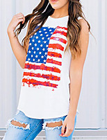 cheap -Women's Tank Top National Flag Tops Round Neck Daily Summer White S M L XL 2XL
