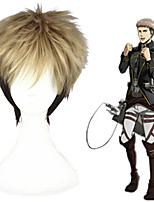 cheap -Cosplay Wig Jean Kirstein Shingeki No Kyojin Straight Cosplay With Bangs Wig Short Brown Synthetic Hair 12 inch Men's Anime Cosplay Ombre Hair Brown