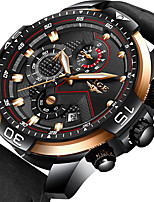 cheap -LIGE Men's Sport Watch Quartz Modern Style Sporty Leather Black / Brown Water Resistant / Waterproof Calendar / date / day Noctilucent Analog Casual Cool - Golden / Brown Black Brown