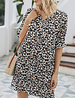 cheap -Women's A-Line Dress Short Mini Dress - Half Sleeve Leopard Summer Work 2020 White Red Khaki S M L XL