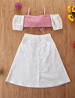 cheap -Toddler Girls' Basic Casual Striped Sleeveless Regular Regular Clothing Set Red