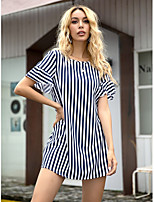 cheap -Women's A-Line Dress Short Mini Dress - Short Sleeves Striped Summer Formal Work 2020 Navy Blue XS S M L