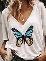 cheap -Women's T-shirt Graphic V Neck Tops Loose White