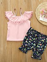 cheap -Toddler Girls' Basic Floral Solid Colored Bow Tassel Fringe Print Sleeveless Regular Regular Clothing Set Blushing Pink