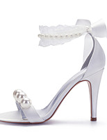 cheap -Women's Wedding Shoes Spring / Summer Pumps Open Toe Sexy Sweet Preppy Wedding Party & Evening Imitation Pearl / Lace / Lace-up Solid Colored Satin White / Ivory