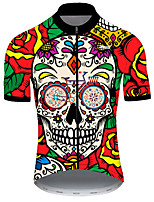 cheap -21Grams Men's Short Sleeve Cycling Jersey Nylon Polyester Red / Yellow Skull Floral Botanical Funny Bike Jersey Top Mountain Bike MTB Road Bike Cycling Breathable Quick Dry Ultraviolet Resistant