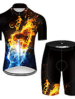 cheap -21Grams Men's Short Sleeve Cycling Jersey with Shorts Nylon Polyester Black / Yellow 3D Gradient Funny Bike Clothing Suit Breathable 3D Pad Quick Dry Ultraviolet Resistant Reflective Strips Sports 3D
