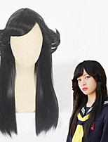 cheap -Cosplay Wig Kyou Kara Ore Wa Curly Cosplay Halloween Asymmetrical Wig Medium Length Black Synthetic Hair 21 inch Women's Anime Cosplay Women Black