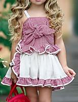 cheap -Kids Girls' Basic Plaid Sleeveless Clothing Set Black