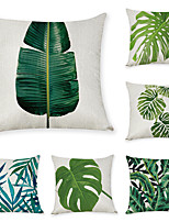 cheap -9 pcs Linen Pillow Cover, Leaf Casual Modern Square Traditional Classic