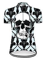 cheap -21Grams Women's Short Sleeve Cycling Jersey Nylon Polyester Black / Green Novelty Skull Floral Botanical Bike Jersey Top Mountain Bike MTB Road Bike Cycling Breathable Quick Dry Ultraviolet Resistant