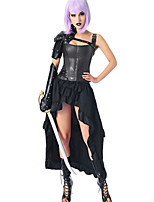 cheap -Plague Doctor Medieval Steampunk Wasp-Waisted Dress Outfits Overbust Corset Women's Costume Black Vintage Cosplay Party Prom / Shawl / Sleeves