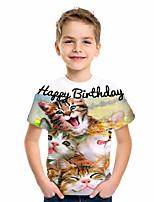 Недорогие -Дети Мальчики Классический Кот Животное С принтом С короткими рукавами Футболка Белый
