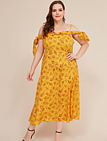 cheap -Women's Sheath Dress Maxi long Dress - Short Sleeves Floral Summer Elegant 2020 Yellow L XL XXL XXXL XXXXL