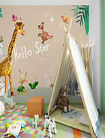 cheap -Custom Self-adhesive Mural Wallpaper Giraffe Children Cartoon Style Suitable For Bedroom Children's Room School Party Room Wallcovering