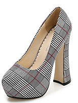 cheap -Women's Heels Summer Block Heel Pointed Toe Daily Plaid / Check Mesh Black / Red / Gold