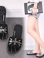 cheap -Women's Sandals Summer Flat Heel Open Toe Daily PVC Black / Silver