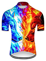 cheap -21Grams Men's Short Sleeve Cycling Jersey Nylon Polyester Blue+Yellow Gradient Animal Wolf Bike Jersey Top Mountain Bike MTB Road Bike Cycling Breathable Quick Dry Ultraviolet Resistant Sports