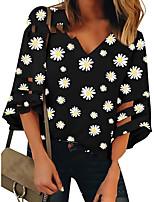 cheap -Women's T-shirt Floral Tops V Neck Daily Summer Black S M L XL 2XL 3XL 4XL