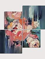 Недорогие -ручная роспись холст, масло, роспись, абстрактный набор из 4 предметов интерьера с рамкой картины, готовой повесить