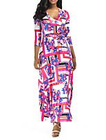 cheap -Women's Swing Dress Maxi long Dress - 3/4 Length Sleeve Geometric Summer Casual 2020 Blue Red S M L XL