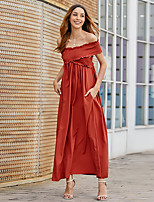 cheap -Women's Swing Dress Maxi long Dress - Short Sleeves Solid Color Summer Casual Elegant Going out Beach 2020 Black Brown S M L XL XXL