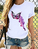 cheap -Women's T-shirt Graphic Prints Round Neck Tops Loose 100% Cotton White