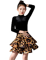 cheap -Latin Dance Kids' Dancewear Skirts Pleats Pattern / Print Girls' Training Daily Wear 3/4 Length Sleeve Polyester