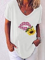 cheap -Women's T-shirt Graphic V Neck Tops Loose White Black Blue