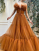 cheap -Ball Gown Luxurious Vintage Engagement Formal Evening Dress Off Shoulder Sleeveless Floor Length Tulle with Pleats 2020