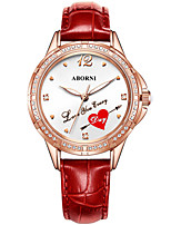cheap -Women's Quartz Watches Quartz Heart Stylish Heart shape Water Resistant / Waterproof Genuine Leather Analog - White Red Blushing Pink