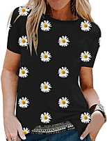 cheap -Women's T-shirt Floral Round Neck Tops White Black