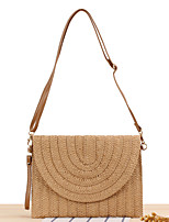 cheap -Women's Polyester / Straw Crossbody Bag 2020 Solid Color Brown / Beige / Straw Bag / Fall & Winter