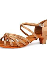 cheap -Women's Latin Shoes / Salsa Shoes Satin Buckle Heel Buckle Thick Heel Customizable Dance Shoes Leopard / White / Black
