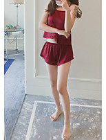 cheap -Women's Lace Backless Cut Out Suits Nightwear Jacquard Solid Colored Black / Red One-Size