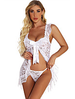 cheap -Women's Lace Backless Mesh Suits Nightwear Solid Colored Wine / White / Black S M L