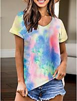 cheap -Women's T-shirt Tie Dye V Neck Tops Summer Blue Yellow Khaki