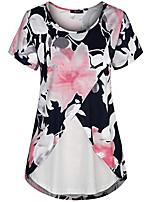 cheap -Women's T-shirt Floral Tops Round Neck Daily Summer Black S M L XL