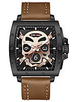 cheap -Men's Sport Watch Quartz Modern Style Stylish Leather Water Resistant / Waterproof Analog Skull Big Face - Black / Silver Black+Gloden Brown / Stainless Steel