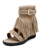 cheap -Women's Sandals Spring / Summer Hidden Heel Open Toe Vintage Sexy Sweet Daily Party & Evening Tassel Solid Colored Suede Almond / Black / Red