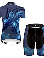 Недорогие -21Grams Жен. С короткими рукавами Велокофты и велошорты Нейлон Полиэстер Черный / синий Дракон Животное Цветочные ботанический Велоспорт Наборы одежды Дышащий 3D / Эластичная / Горные велосипеды
