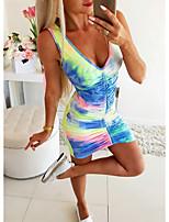 cheap -Women's Sheath Dress Knee Length Dress - Sleeveless Tie Dye Print Summer Sexy Daily 2020 Rainbow S M L XL