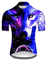 cheap -21Grams Men's Short Sleeve Cycling Jersey Nylon Polyester Black / Blue Gradient Animal Wolf Bike Jersey Top Mountain Bike MTB Road Bike Cycling Breathable Quick Dry Ultraviolet Resistant Sports