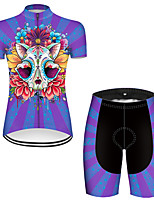 cheap -21Grams Women's Short Sleeve Cycling Jersey with Shorts Nylon Polyester Black / Blue Novelty Skull Floral Botanical Bike Clothing Suit Breathable 3D Pad Quick Dry Ultraviolet Resistant Reflective